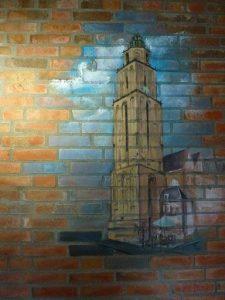 muurschildering in Portiek van Martinitoren