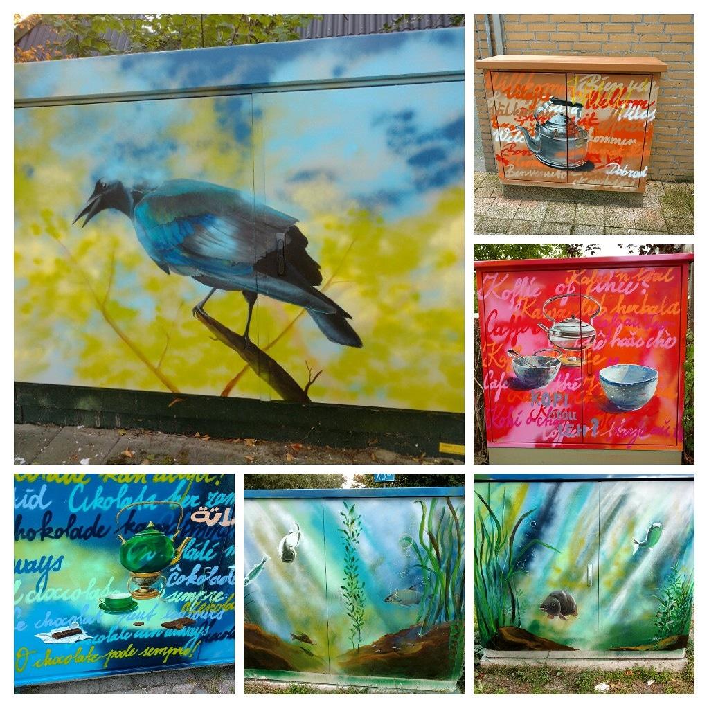 community-art project, het beschilderen va elektriciteitskastjes