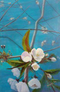 kersenbloesem geschilderd met acrylverf