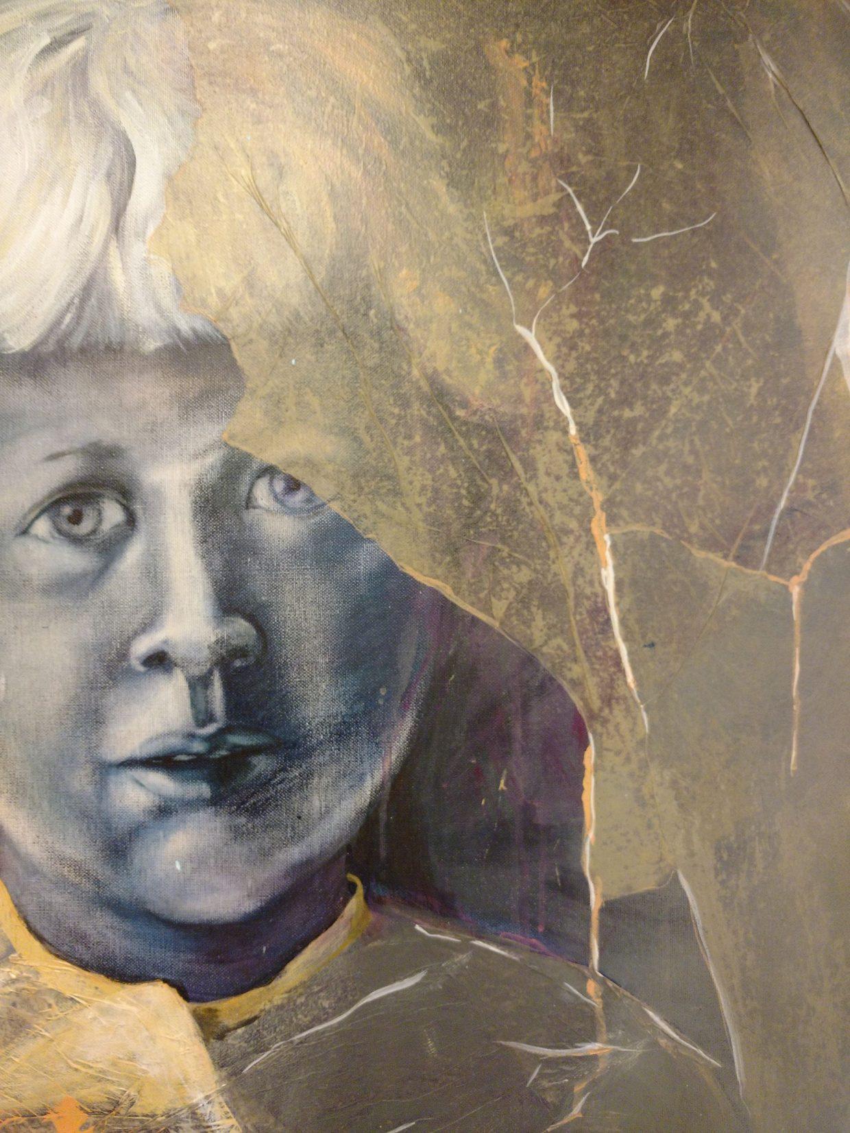 kinderportret geschilderd met acrylverf en zijdevloei-papier
